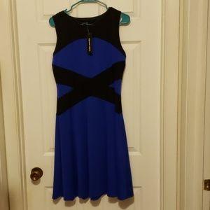 Spense size 8 blue and black sleeveless dress